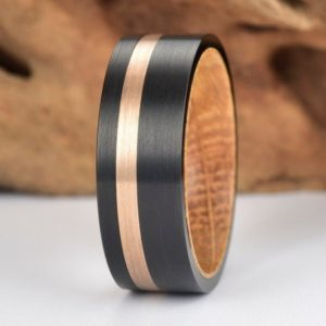 The Jewelry Source New 8mm Yellow Zebra Wood and Titanium Ring Comfort Fit Rings